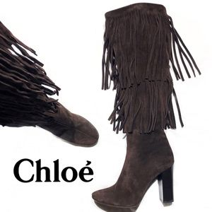 Chloé Tall Fringe Suede Boots